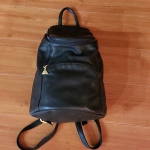 A. GIANNETTI~All leather backpack~black adj.straps